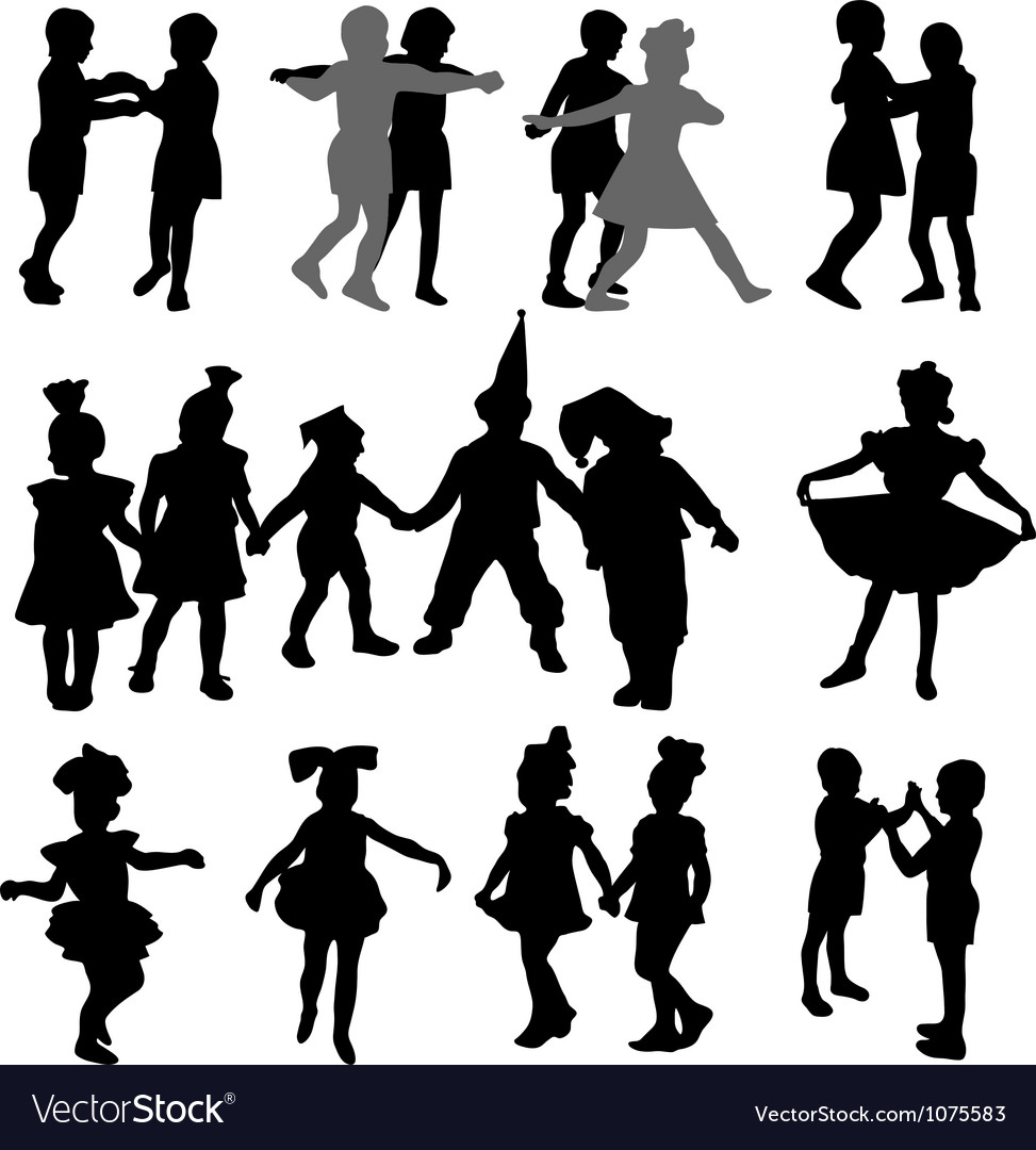 Dancing children silhouettes vector | Price: 1 Credit (USD $1)