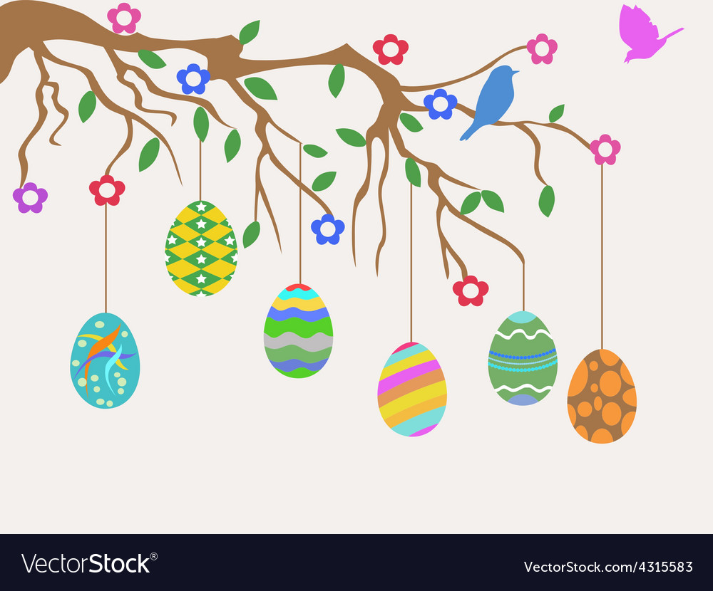 Easter egg hanging on tree and birds flowers card vector | Price: 1 Credit (USD $1)