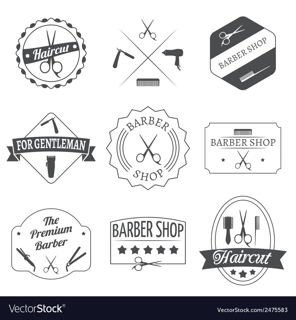 Hairdresser label set vector | Price: 1 Credit (USD $1)