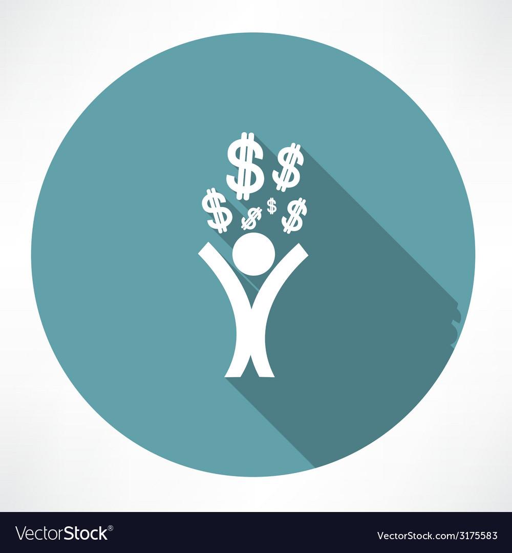 Happy man with money icon vector | Price: 1 Credit (USD $1)