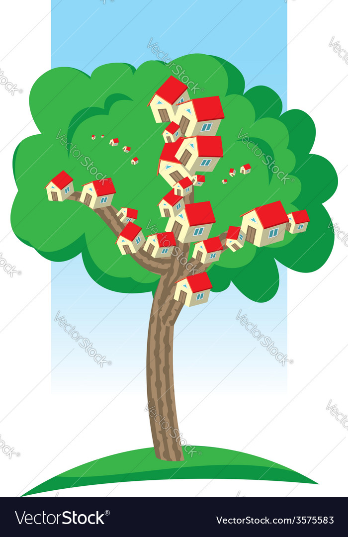 Houses growing on tree vector | Price: 1 Credit (USD $1)