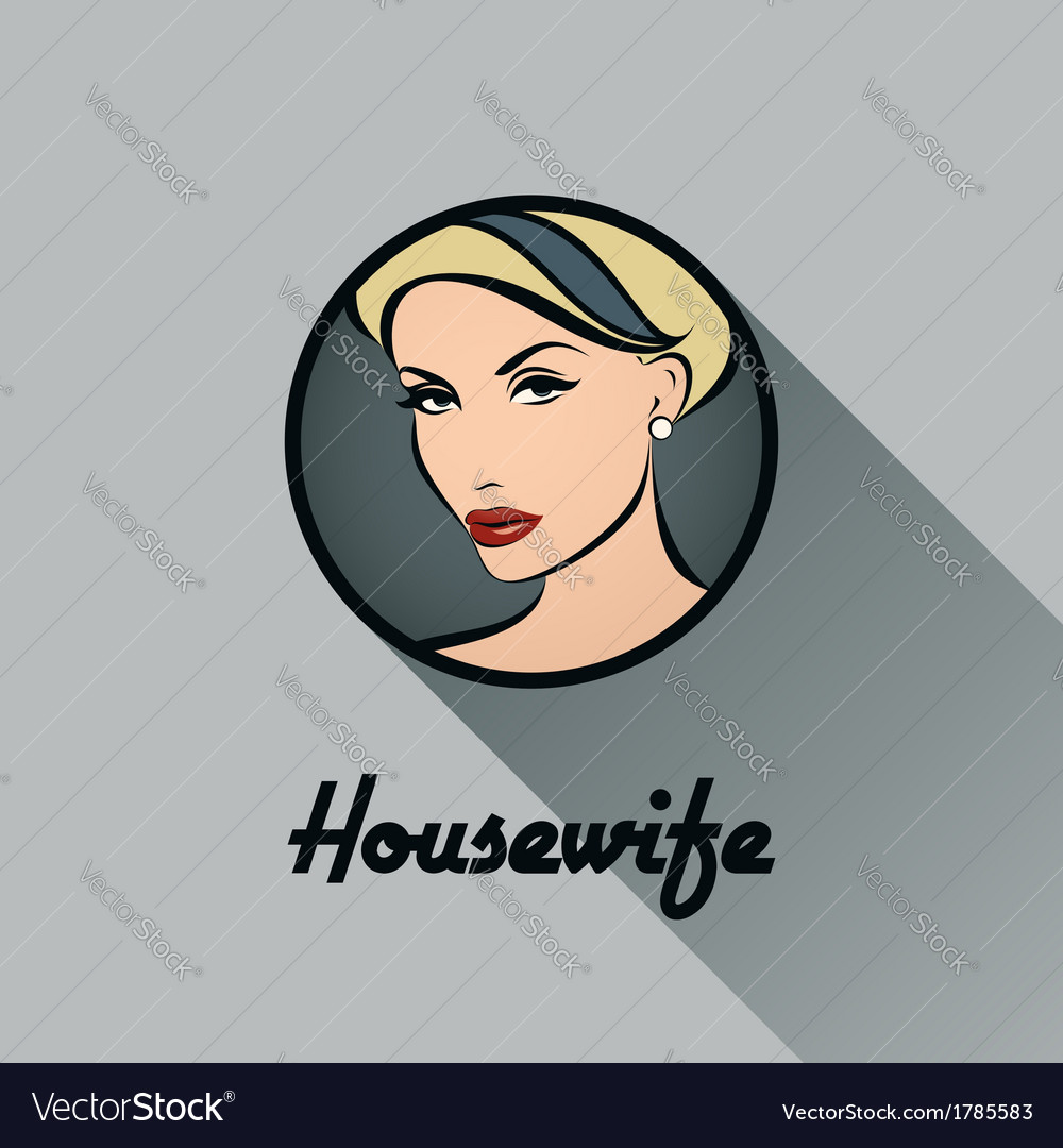 Housewife retro icon with long shadow vector | Price: 1 Credit (USD $1)
