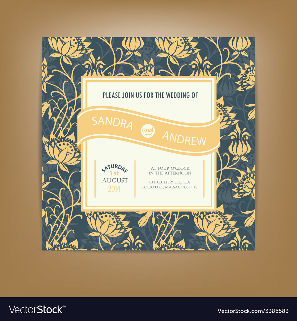 Invitation card dark with yellow flowers vector | Price: 1 Credit (USD $1)