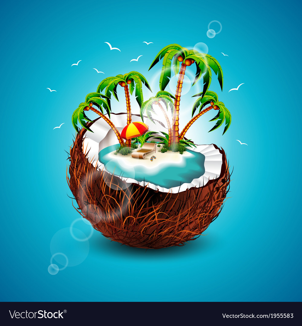 On a summer holiday theme with coconu vector | Price: 3 Credit (USD $3)