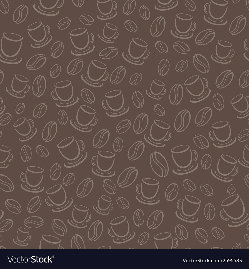 Seamless brown pattern with coffee beans and cups vector | Price: 1 Credit (USD $1)