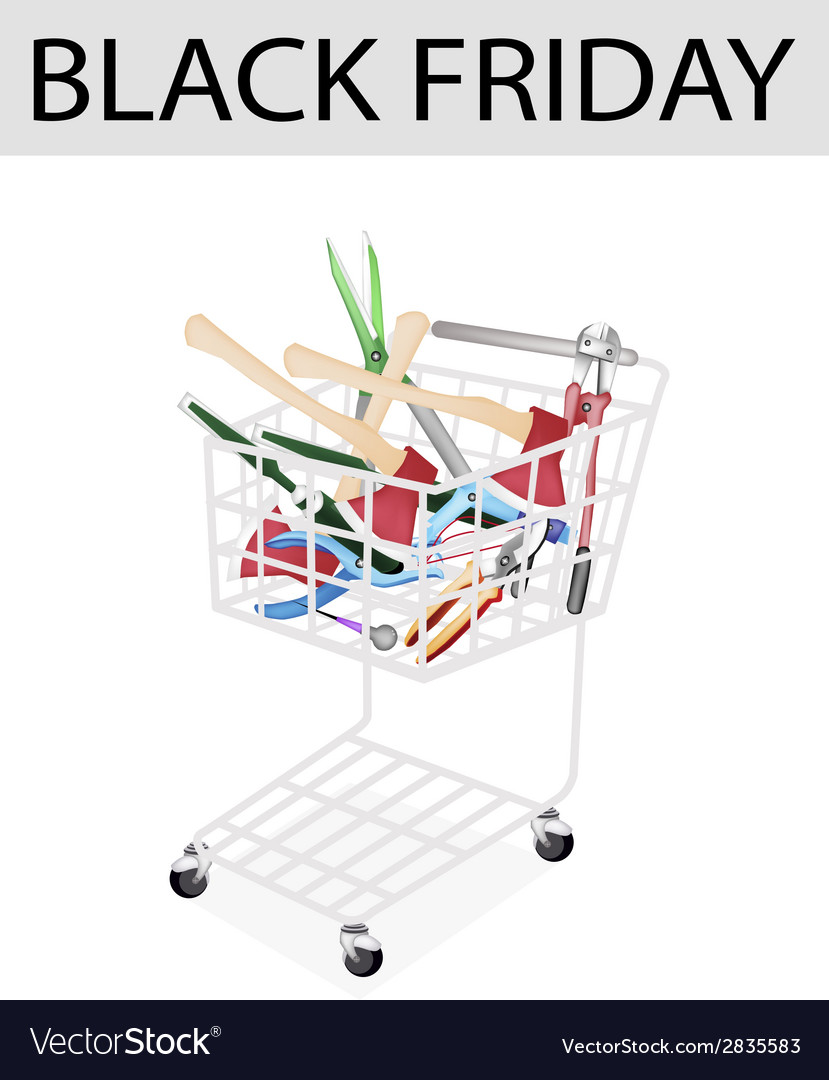 Various craft tools in black friday shopping cart vector | Price: 1 Credit (USD $1)