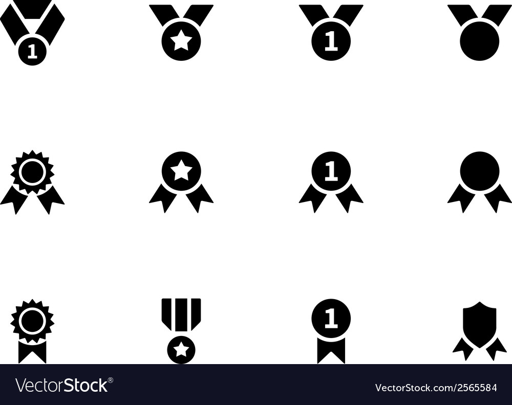 Award and medal icons on white background vector | Price: 1 Credit (USD $1)