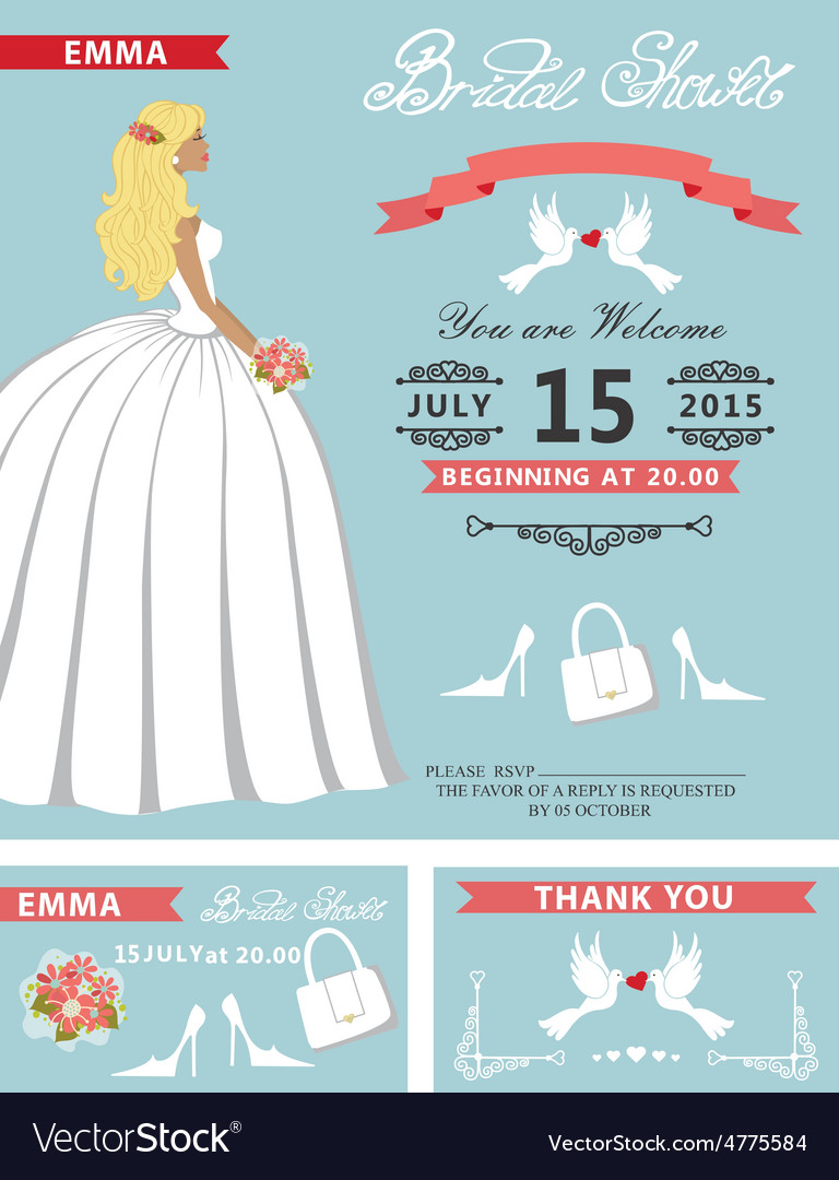 Bridal shower template setlovely bride vector | Price: 1 Credit (USD $1)