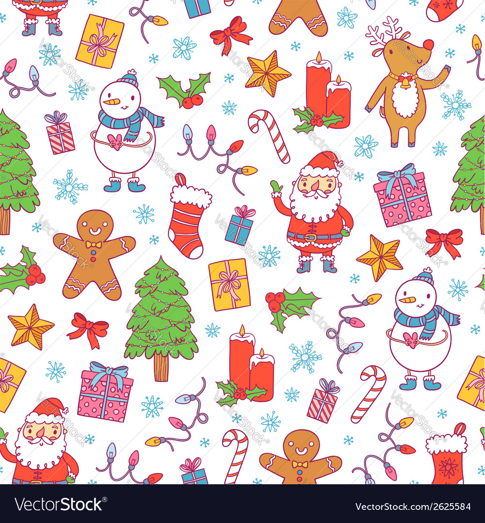 Christmas pattern on white vector | Price: 1 Credit (USD $1)