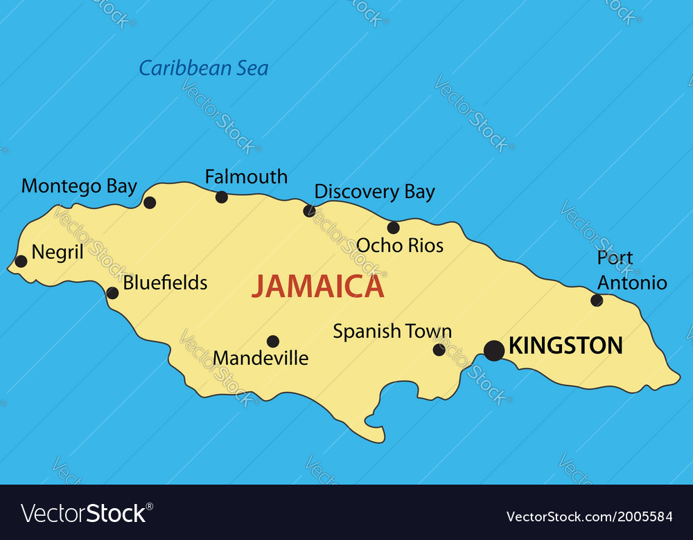 Commonwealth of jamaica - map vector | Price: 1 Credit (USD $1)