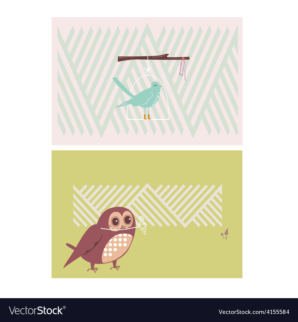 Creative cards with birds vector | Price: 1 Credit (USD $1)