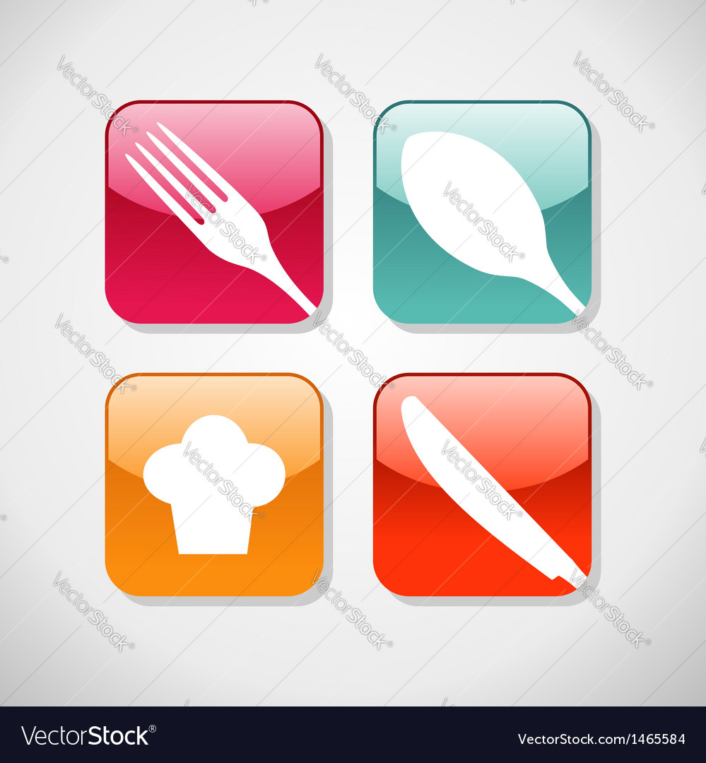 Gourmet glossy icons set background vector | Price: 1 Credit (USD $1)