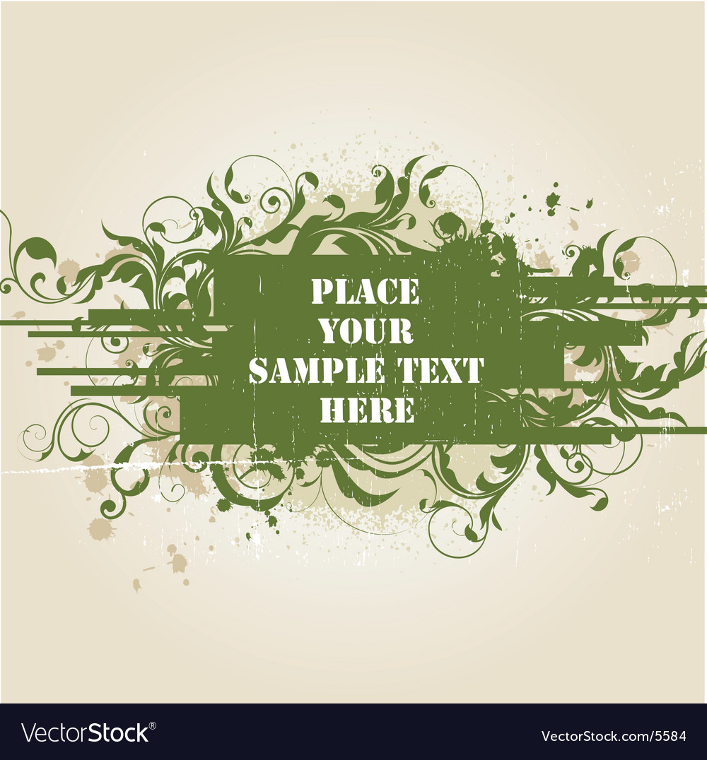 Grunge floral tag vector | Price: 1 Credit (USD $1)