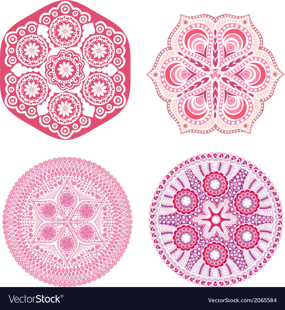 Indian ornaments kaleidoscopic floral pattern vector | Price: 1 Credit (USD $1)