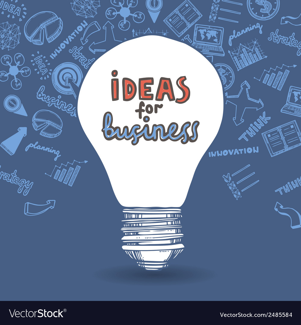 Lightbulb and drawing business strategy vector | Price: 1 Credit (USD $1)