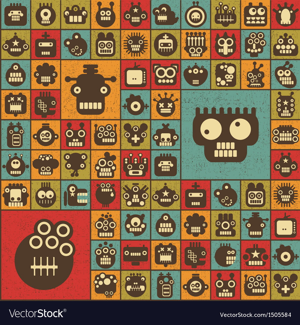 Robot and monsters cell seamless background vector | Price: 3 Credit (USD $3)