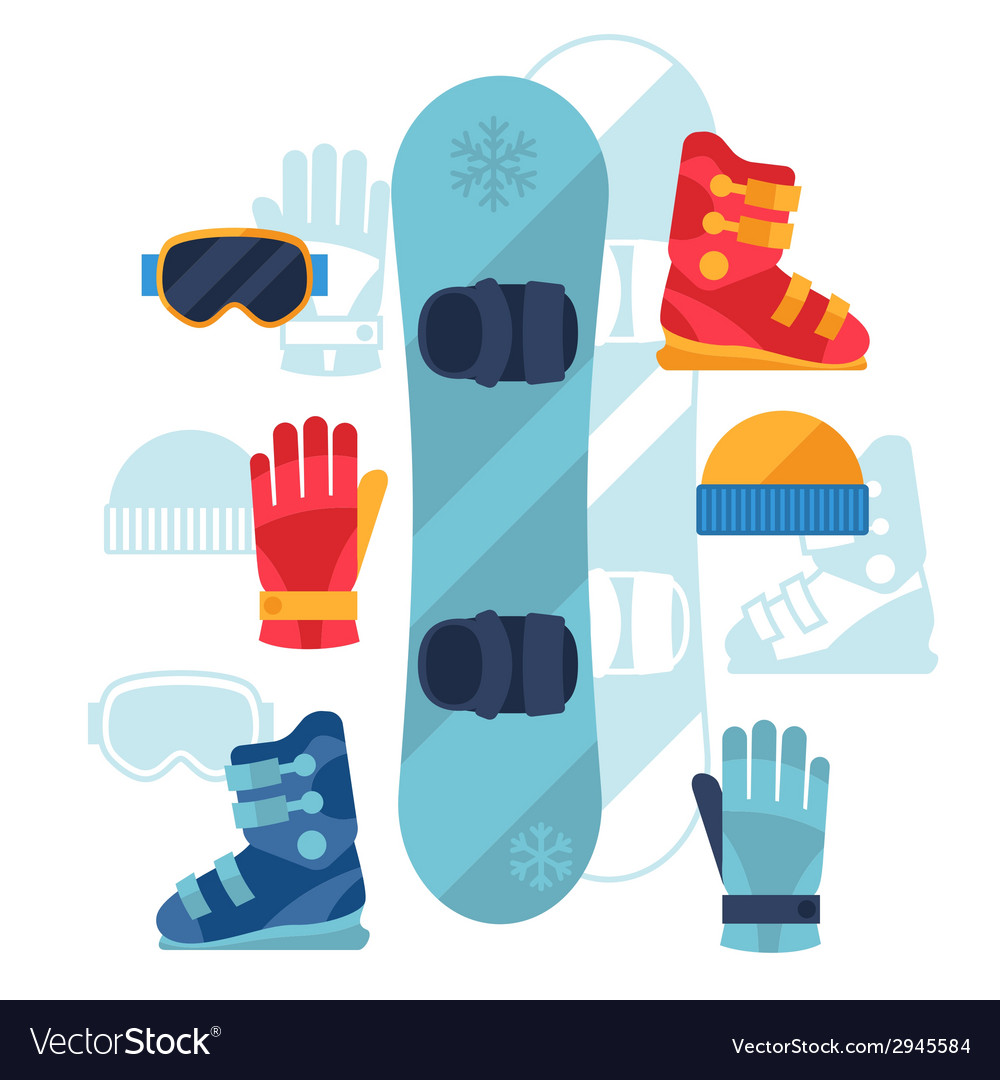 Snowboard equipment icons set in flat design style vector | Price: 1 Credit (USD $1)