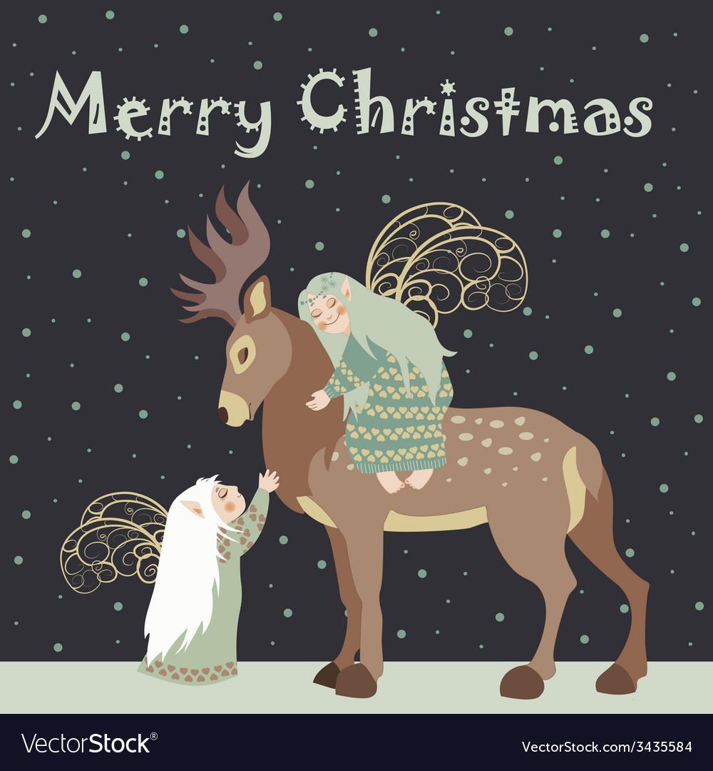 Two angel hug reindeer vector | Price: 1 Credit (USD $1)