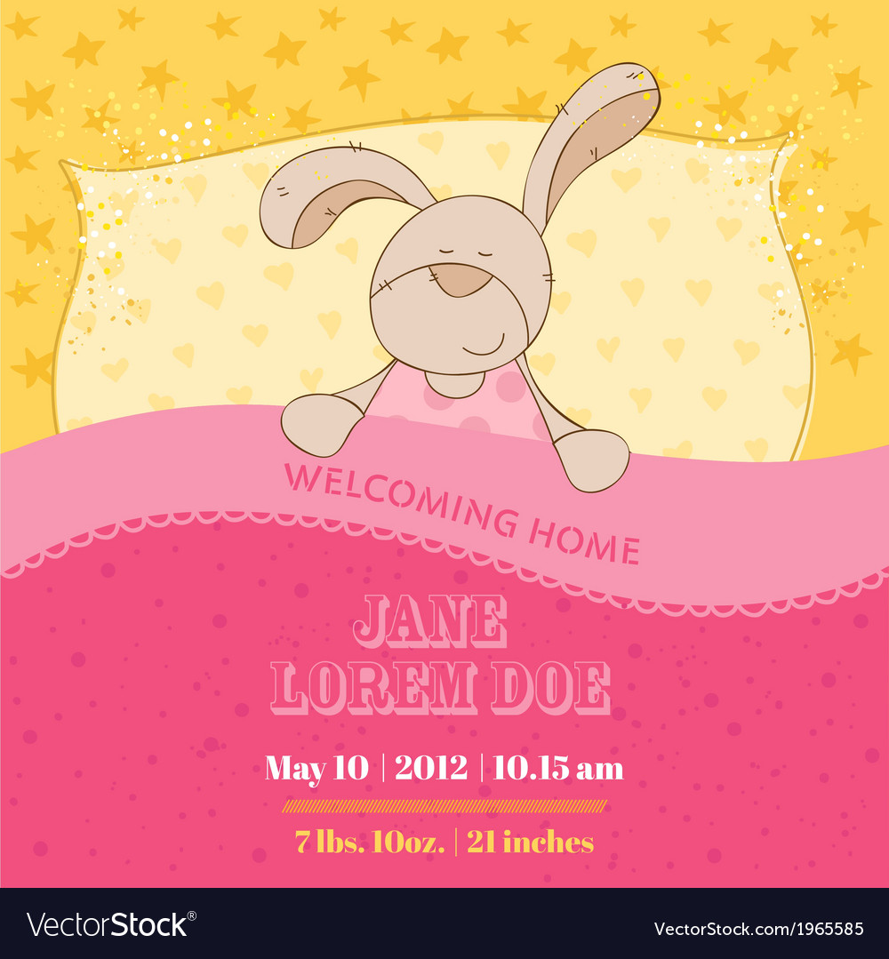 Baby arrival card - sleeping bunny vector | Price: 1 Credit (USD $1)