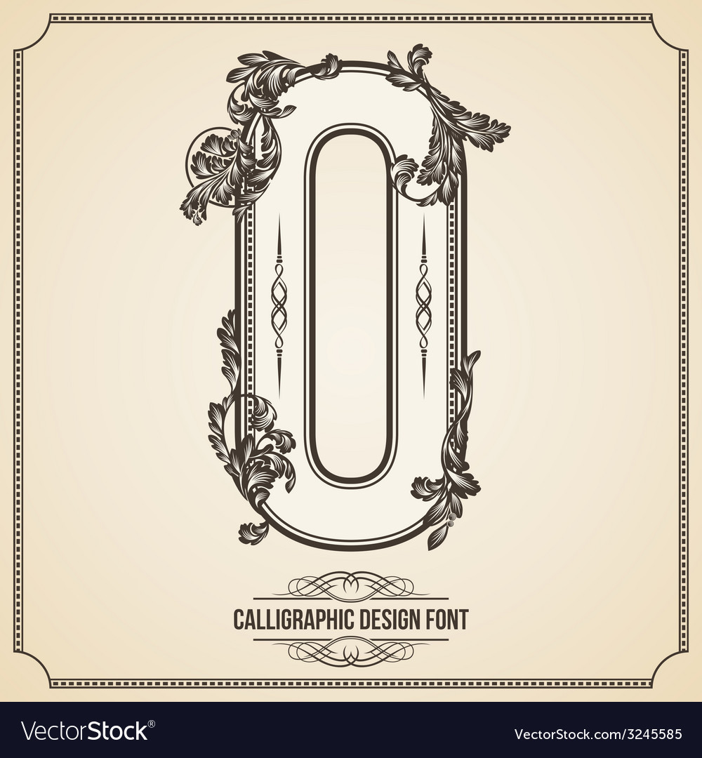 Calligraphic font letter o vector | Price: 1 Credit (USD $1)