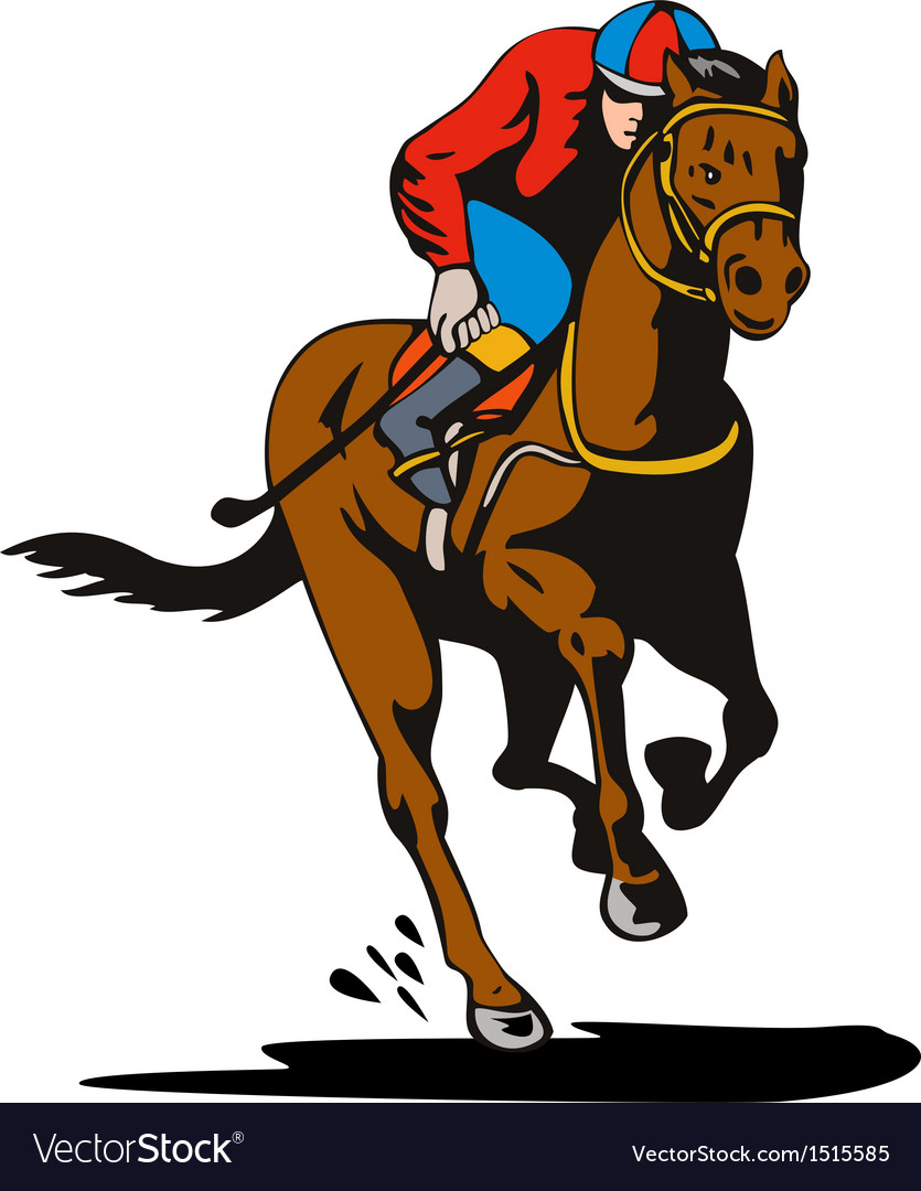 Horse and jockey racing retro vector | Price: 1 Credit (USD $1)