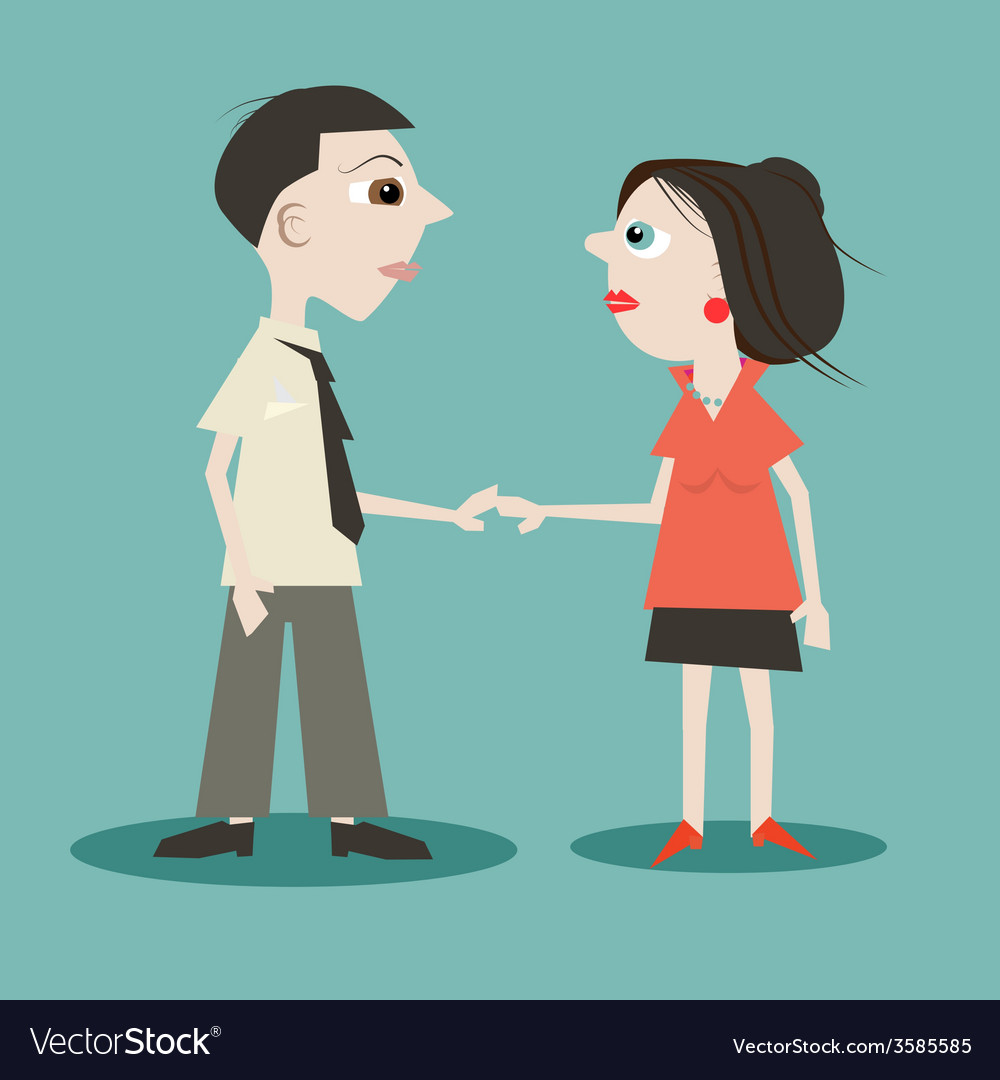 Man and woman holding hands vector | Price: 1 Credit (USD $1)