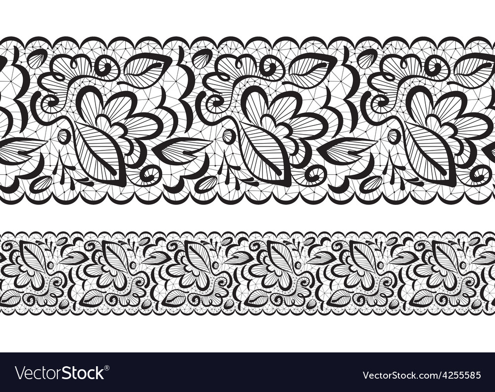 Seamless lace flowers and leaves vector | Price: 1 Credit (USD $1)