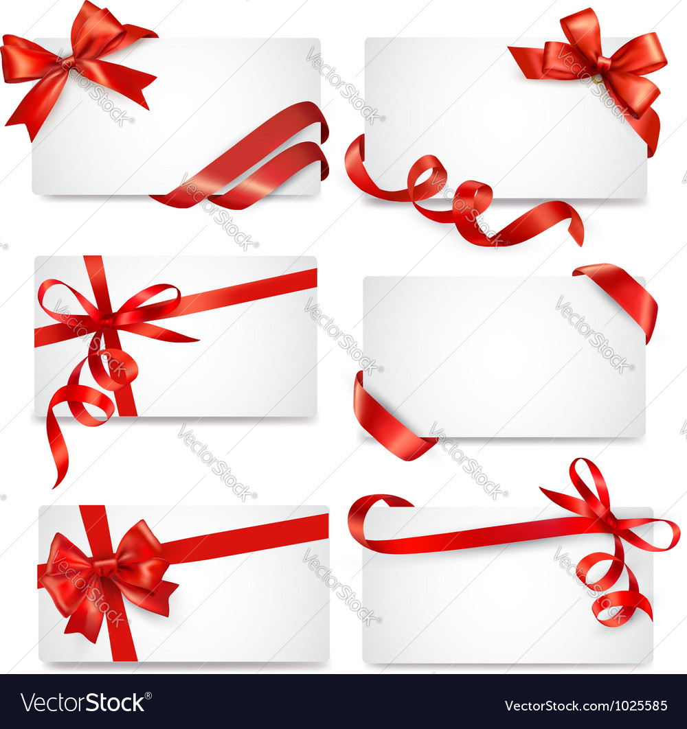 Set of card notes with red gift bows with ribbons vector | Price: 3 Credit (USD $3)