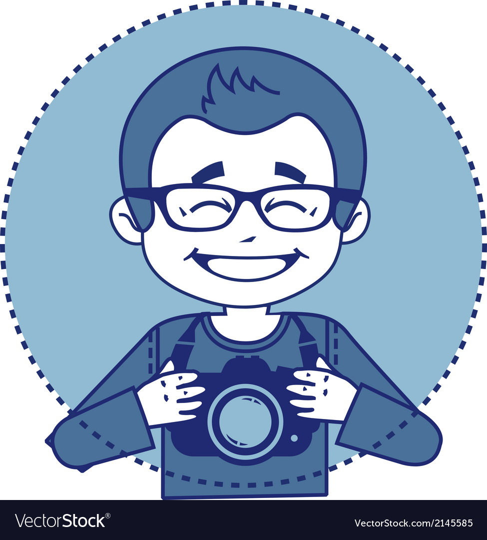 Smile photographer with camera vector | Price: 1 Credit (USD $1)
