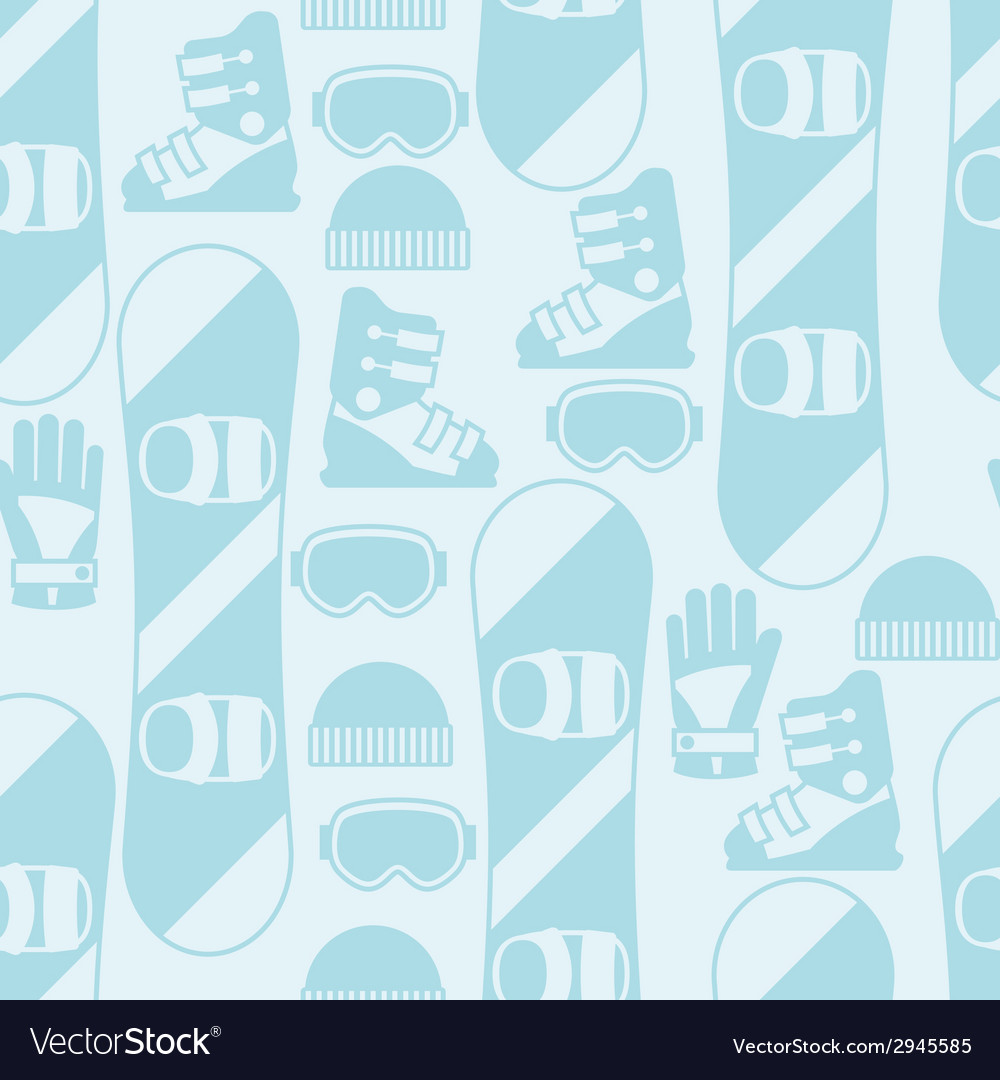 Sports seamless pattern with snowboard equipment vector | Price: 1 Credit (USD $1)