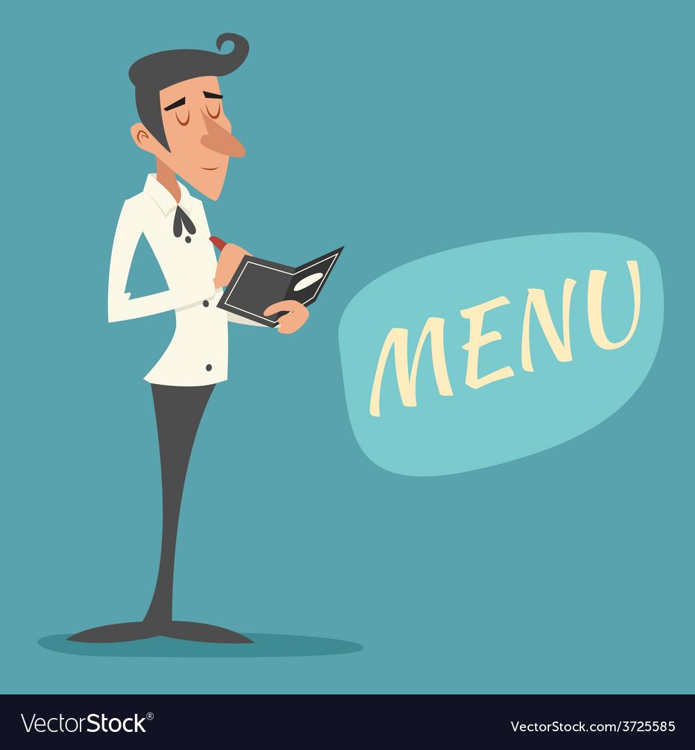 Vintage waiter garcon accepts order symbol vector | Price: 1 Credit (USD $1)