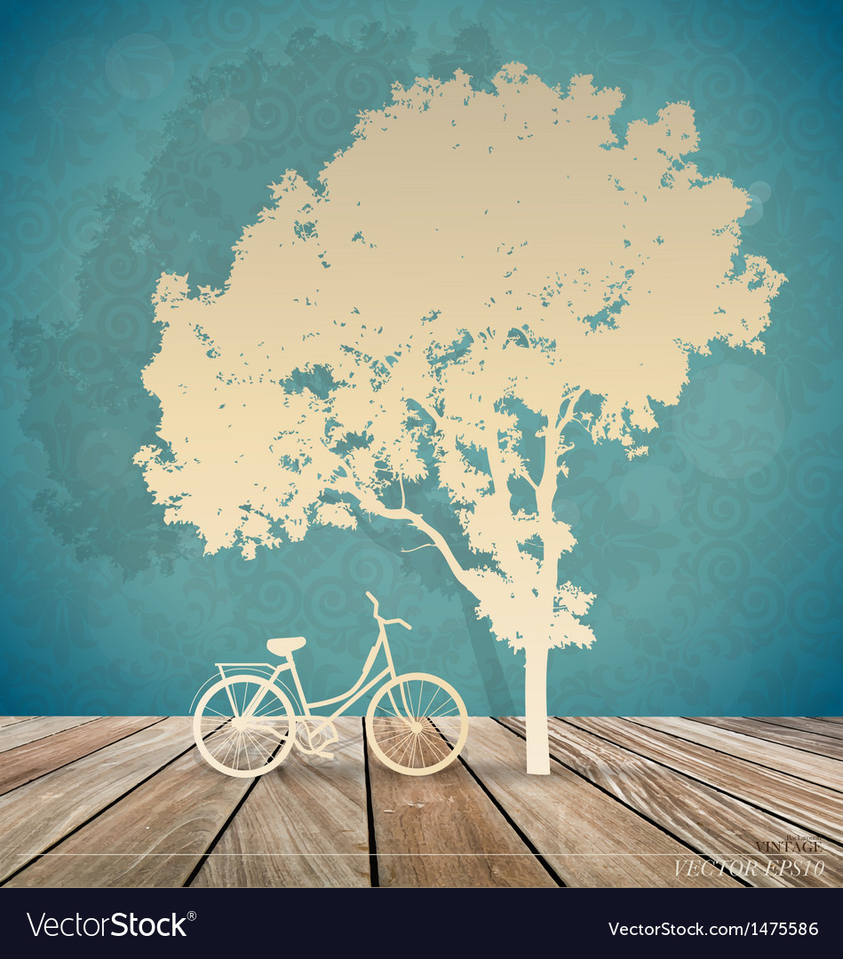 Background with bicycle under tree vector | Price: 1 Credit (USD $1)
