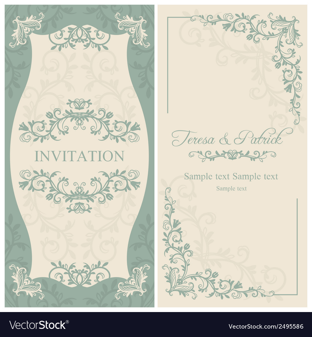 Baroque wedding invitation brown vector | Price: 1 Credit (USD $1)