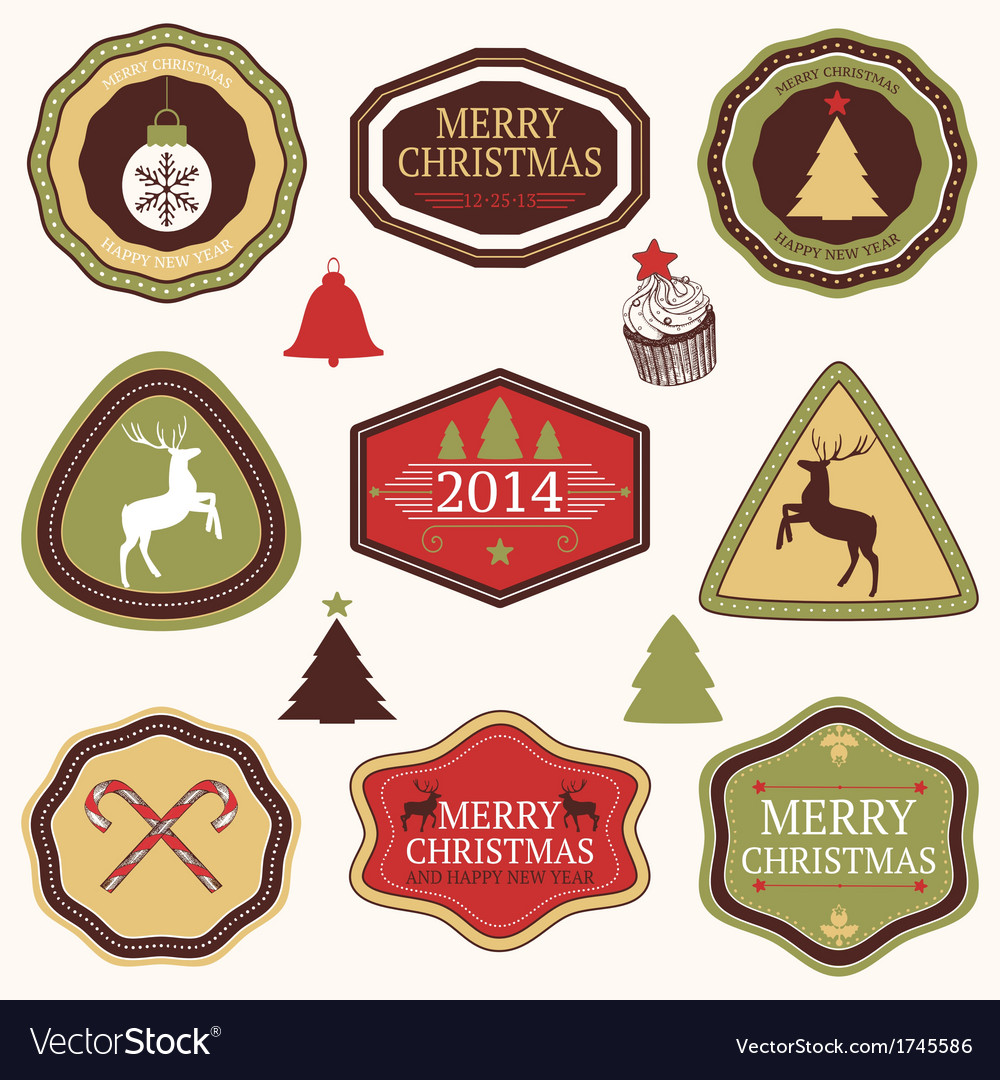 Collection of christmas and new years stickers vector | Price: 1 Credit (USD $1)