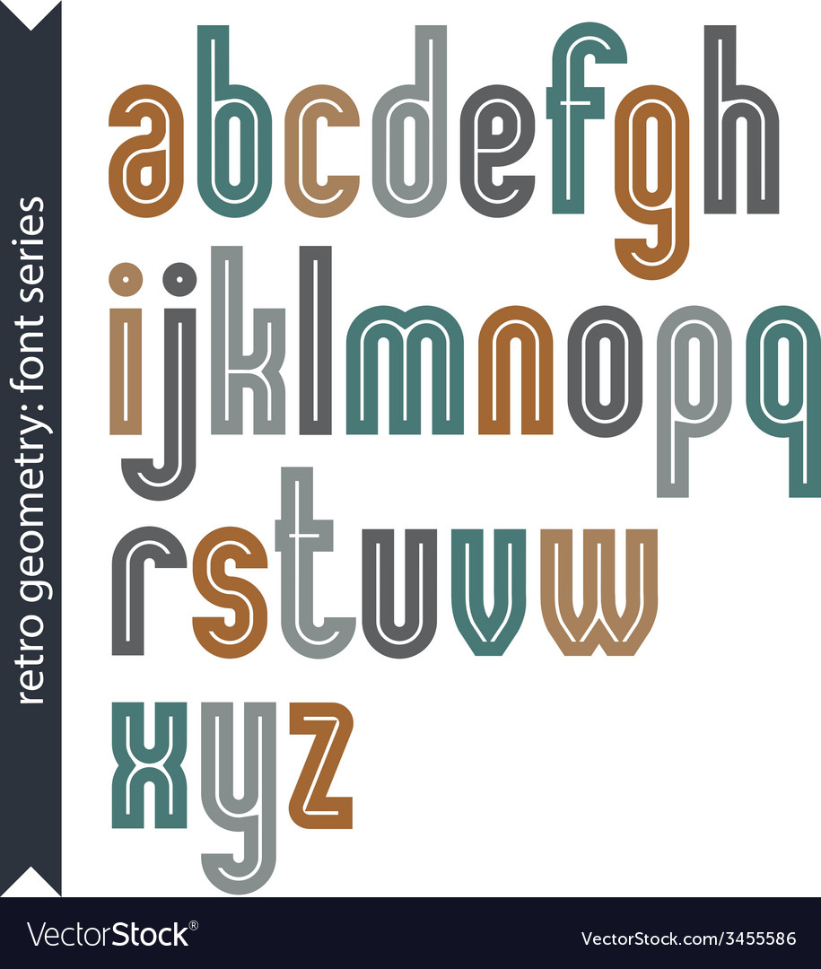 Elegant colorful typescript retro rounded letters vector | Price: 1 Credit (USD $1)