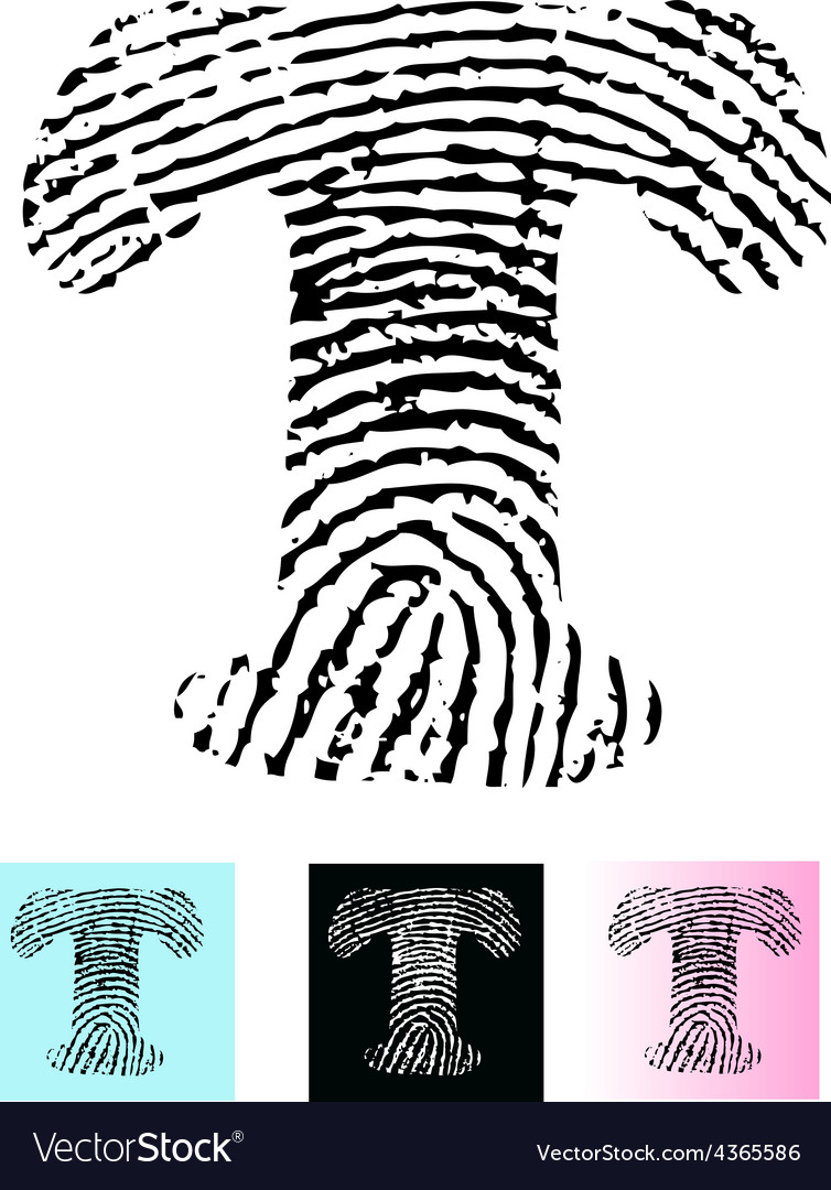 Fingerprint alphabet letter t vector