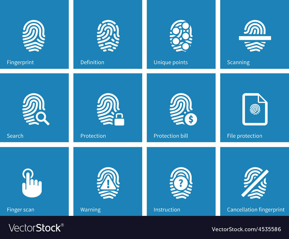 Fingerprint icons on blue background vector | Price: 1 Credit (USD $1)