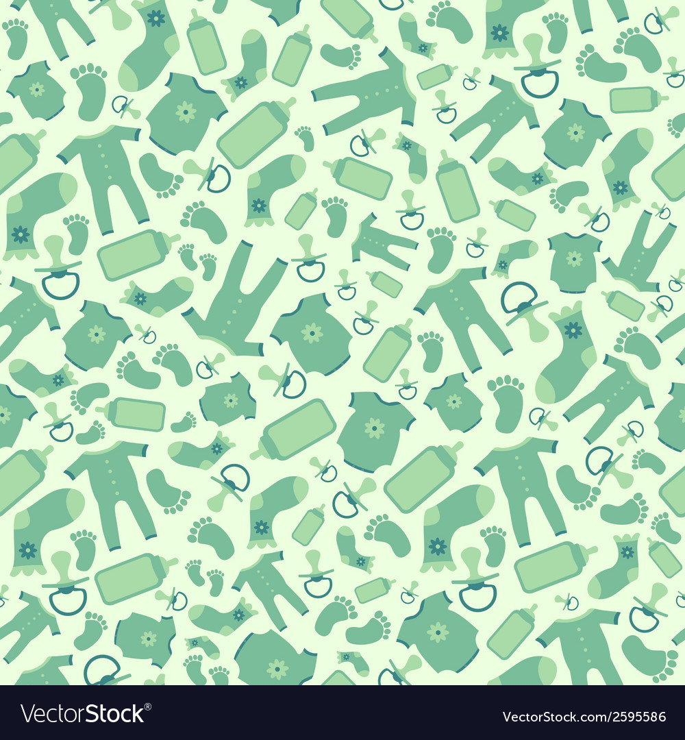 Green baby born seamless pattern vector | Price: 1 Credit (USD $1)