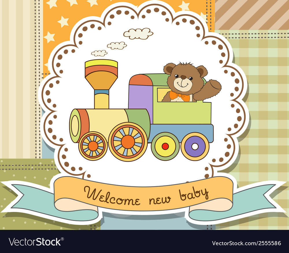 New baby announcement card with train toy vector | Price: 1 Credit (USD $1)