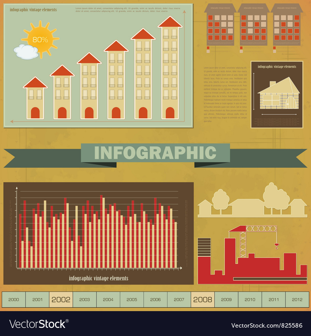 Vintage infographics set - house construction vector | Price: 1 Credit (USD $1)