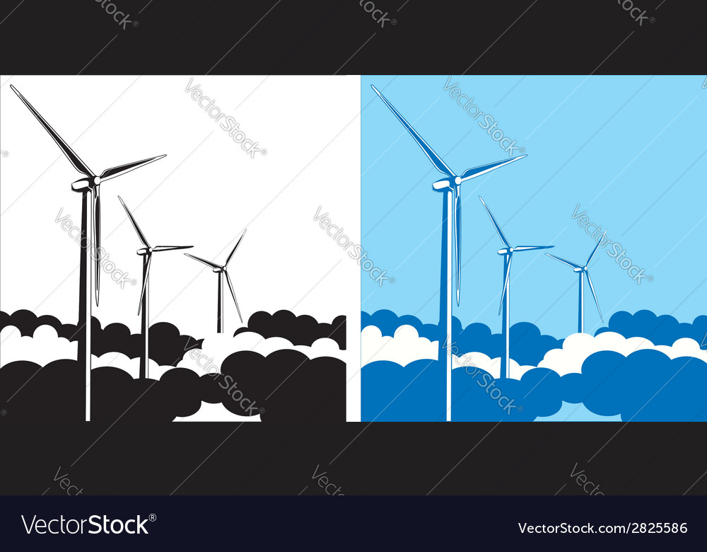 Wind turbines in the clouds vector | Price: 1 Credit (USD $1)