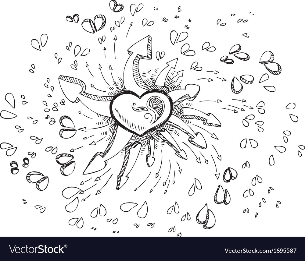 Black and white heart with arrows vector | Price: 1 Credit (USD $1)