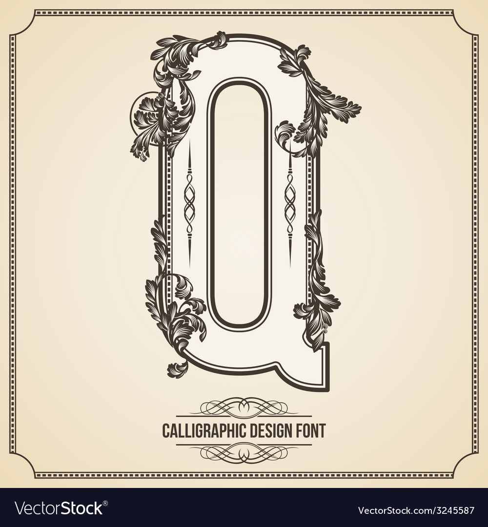 Calligraphic font letter q vector | Price: 1 Credit (USD $1)