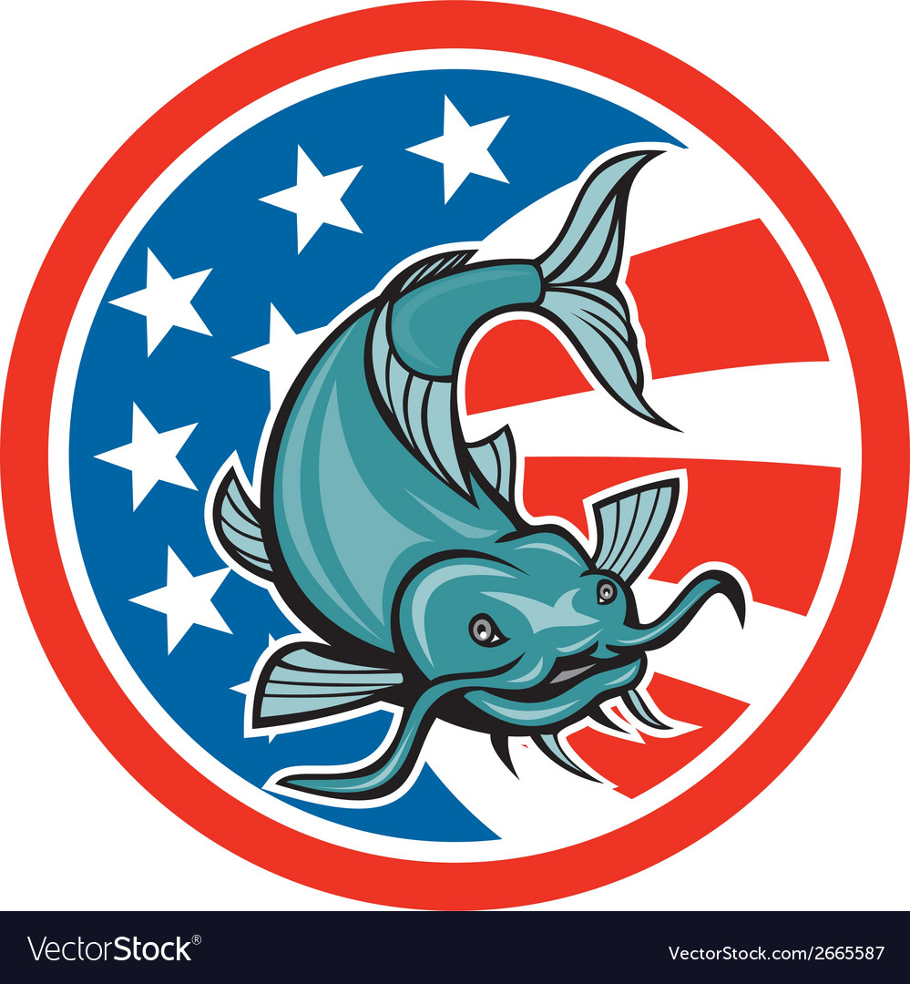 Catfish swimming american flag circle cartoon vector | Price: 1 Credit (USD $1)