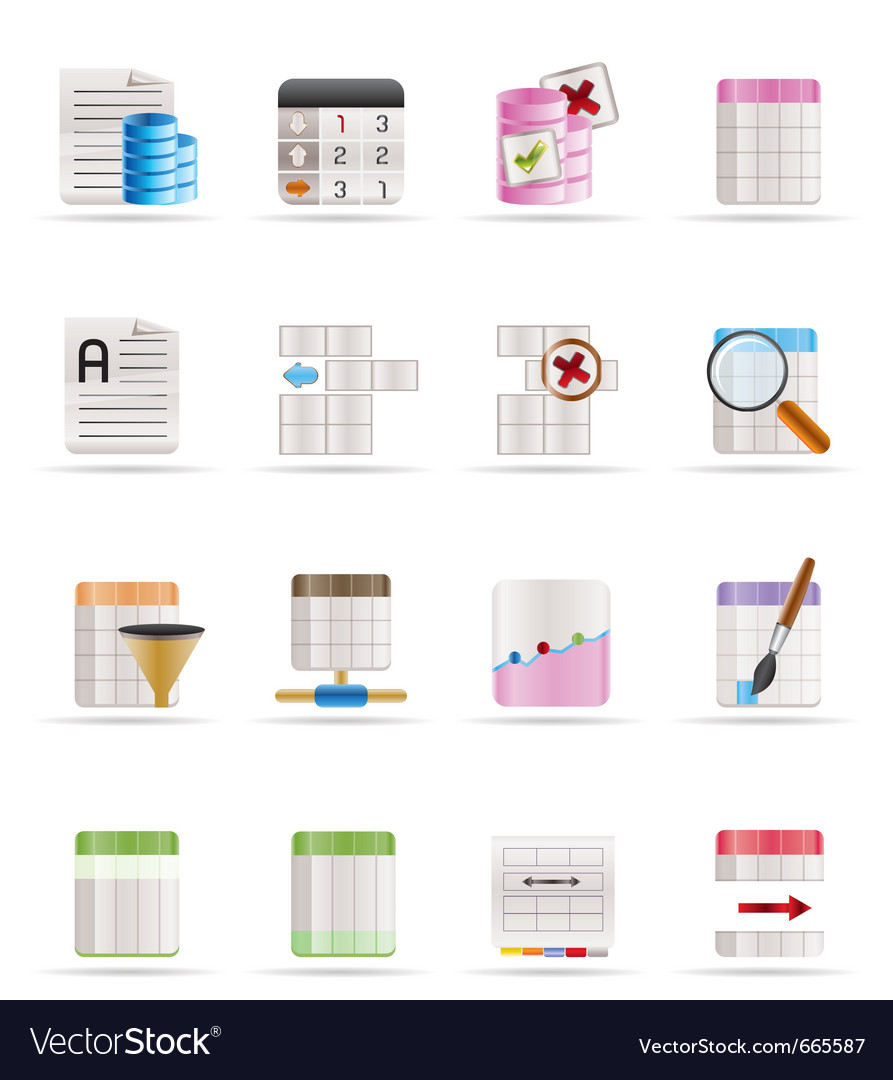 Database and table formatting icons vector | Price: 1 Credit (USD $1)