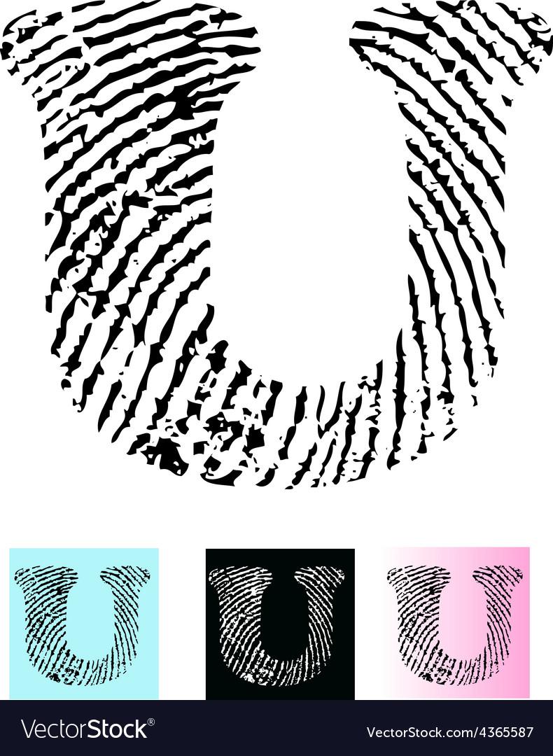 Fingerprint alphabet letter u vector | Price: 1 Credit (USD $1)