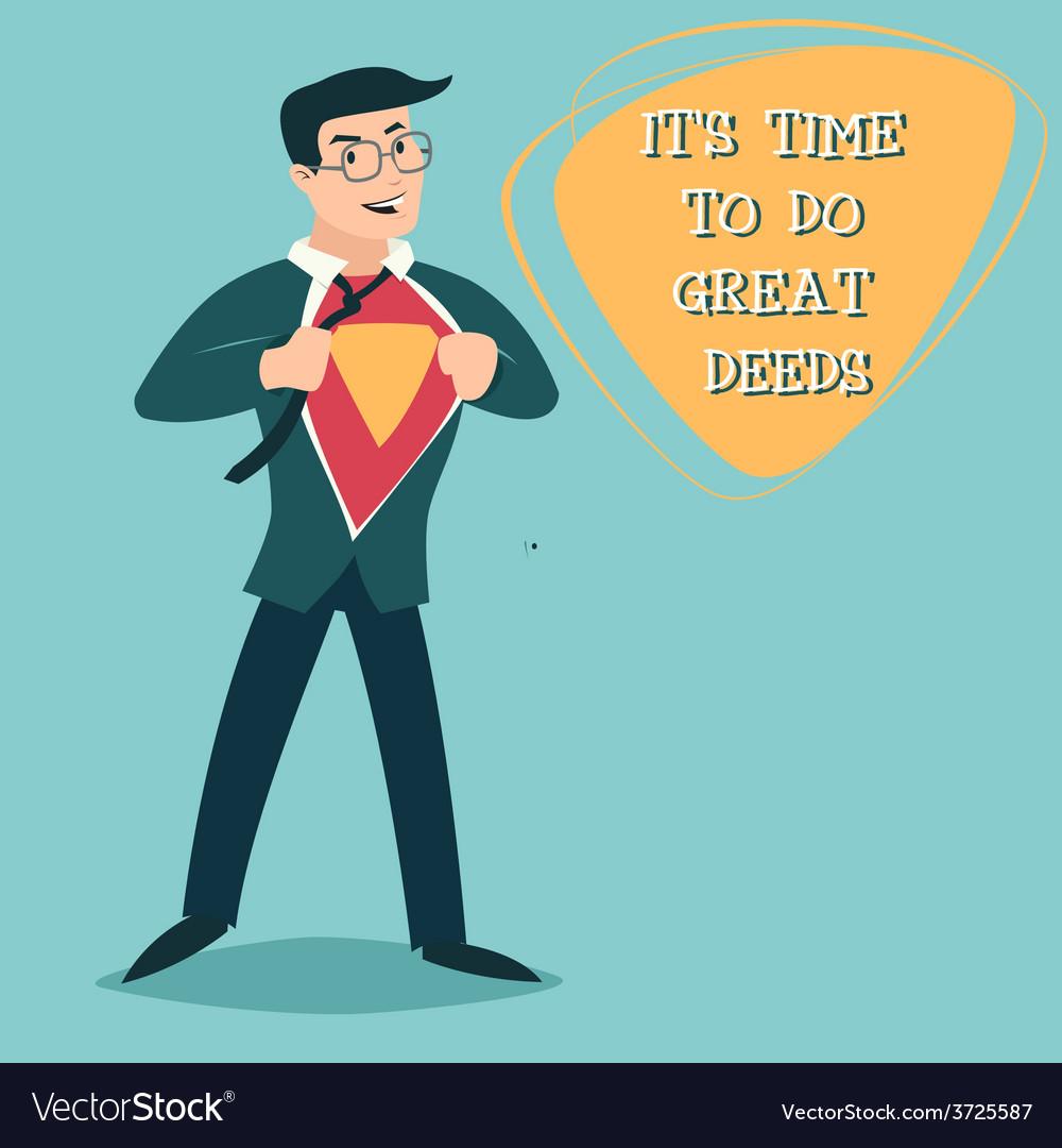 Happy smiling businessman turns in superhero suit vector | Price: 1 Credit (USD $1)