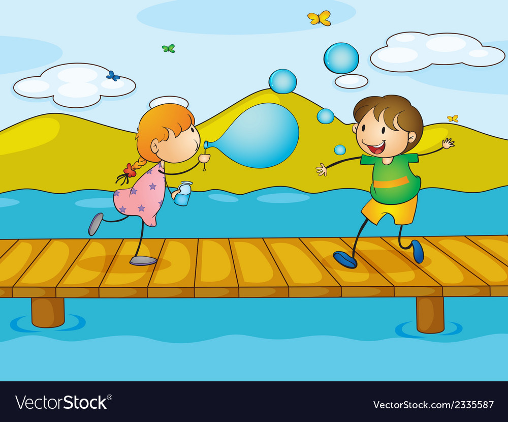 Kids playing at the bridge vector | Price: 1 Credit (USD $1)