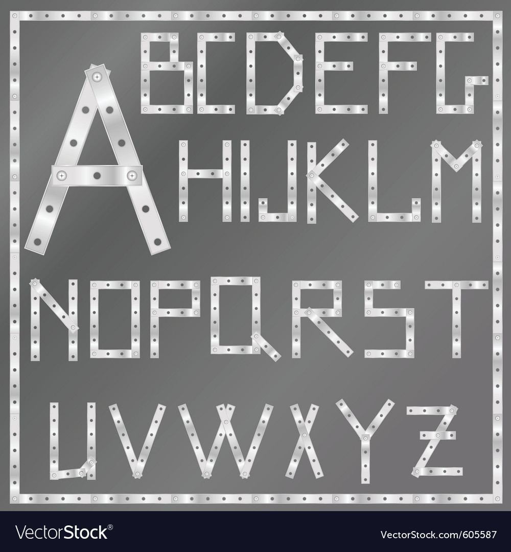 Metal latin alphabet vector | Price: 1 Credit (USD $1)