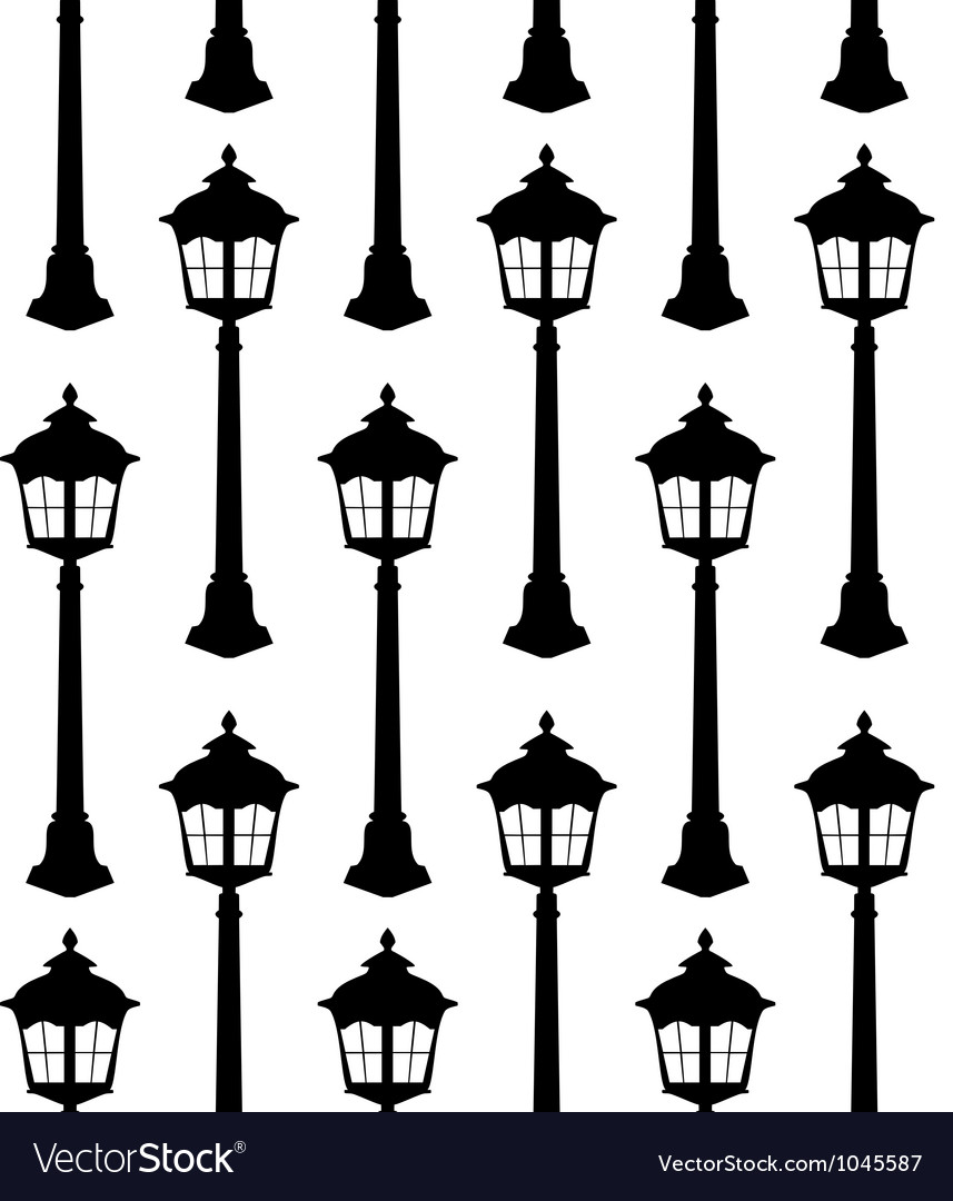 Old lantern silhouette seamless pattern vector | Price: 1 Credit (USD $1)